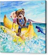 Truffle Mcfurry And Mary The Scottish Sheep Riding The Banana Acrylic Print