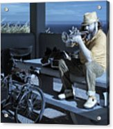 Trumpet Player Playing The Blues Fermin Point Los Angeles In Infrared Acrylic Print