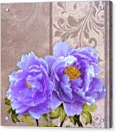 Tryst, Lavender Blue Peonies Still Life Flowers Acrylic Print