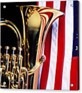 Tuba And American Flag Acrylic Print by Garry Gay