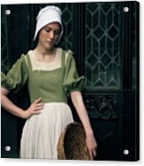 Tudor Woman Outside A Timber Building  Acrylic Print