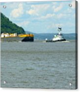 Tug And Barge Acrylic Print