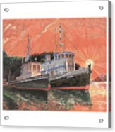 Tug Boats Anchored In Red Sky Acrylic Print