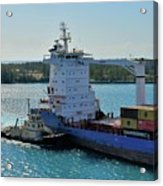 Tugboat Helping Container Ship Out Of Harbor Acrylic Print