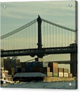 Tugboat Pulling A Barge On The East Acrylic Print