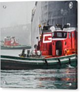 Tugs Maneuvering Ship In The Fog Acrylic Print