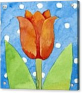 Tulip Blue White Spot Background Acrylic Print