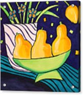 Tulips And 3 Yellow Pears Acrylic Print
