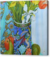 Tulips And Iris In A Japanese Vase, With Fruit And Textiles Acrylic Print