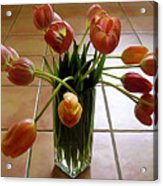 Tulips In A Vase On Tile Acrylic Print