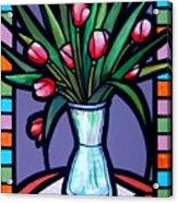 Tulips In Glass Vase Acrylic Print