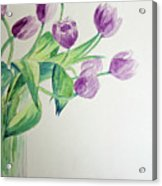 Tulips In Purple Acrylic Print by Julie Lueders