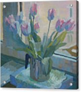 Tulips On A Window  Acrylic Print