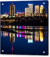 Tulsa Skyline At Twilight Acrylic Print by Tamyra Ayles