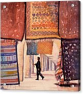 Tunisian Rug Vendor Acrylic Print