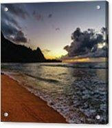 Tunnels Beach Sunset Acrylic Print