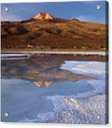 Tunupa Volcano Reflected In Salar De Uyuni At Twilight Bolivia Acrylic Print