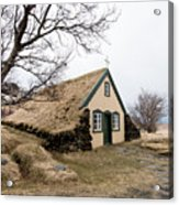 Turf Church At Hof In Iceland Acrylic Print