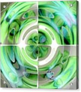 Turquoise And Green Abstract Collage Acrylic Print