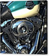 Turquoise And White Harley Tank And Motor Acrylic Print