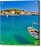 Turquoise Beach And Boat In Rogoznica Acrylic Print