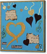 Turquoise Boutique Hearts Acrylic Print
