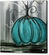 Turquoise Teal Surreal Pumpkin Acrylic Print