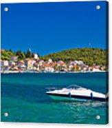 Turquoise Waterfront Of Rogoznica Tourist Destination Acrylic Print