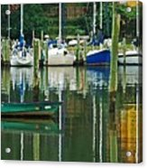 Turquoise Workboat In The Colorful Harbor Acrylic Print