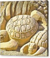 Turtle Sand Castle Sculpture On The Beach 999 Acrylic Print