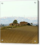 Tuscan Farm House With The City Of Siena On The Background Acrylic Print