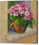 Tuscan Flower Pot Oil Painting Acrylic Print