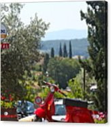 Tuscan Landscape And Scooter Acrylic Print