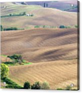 Tuscan Landscape With Plowed Fields Acrylic Print