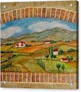 Tuscan Scene Brick Window Acrylic Print