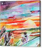 Tuscany Landscape Autumn Sunset Fields Of Rye Acrylic Print
