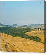 Tuscany Landscape With Rolling Hills At Sunset, Val D'orcia, Ita Acrylic Print