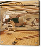 Twenty-seven Pound Cannon On A Battleship Acrylic Print by Gustave Bourgain