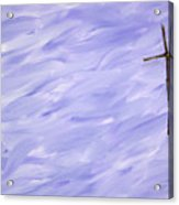 Twig Cross On Purple Acrylic Print