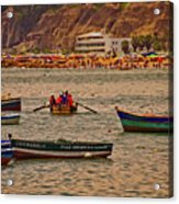 Twilight At The Beach, Miraflores, Peru Acrylic Print
