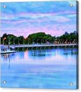 Twilight City Lake View Acrylic Print