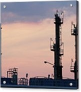 Twilight Over Petrochemical Plant Acrylic Print