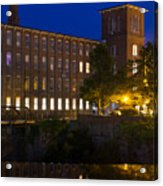Twilight Over The Cocheco Mills Dover New Hampshire Acrylic Print
