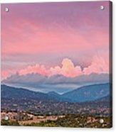 Twilight Panorama Of Sangre De Cristo Mountains And Santa Fe - New Mexico Land Of Enchantment Acrylic Print