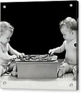 Twin Babies Playing Checkers, C.1930-40s Acrylic Print