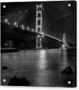 Twinkling Golden Gate Bridge Black And White Acrylic Print