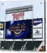 Twins Home Opener 2010 Acrylic Print by Ron Read