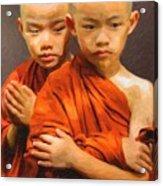 Twins In Orange Acrylic Print