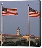 Two American Flags With Old Post Office Building Acrylic Print