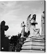 Two Angels Joseph, Jesus And A Bold Cross In A Cemetery Acrylic Print